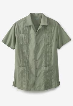 KS Island™ Short-Sleeve Guayabera Shirt, SHADY GREEN