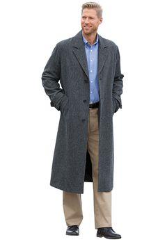 Wool-Blend Long Overcoat,