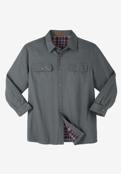 Flannel-Lined Twill Shirt Jacket by Boulder Creek®, STEEL