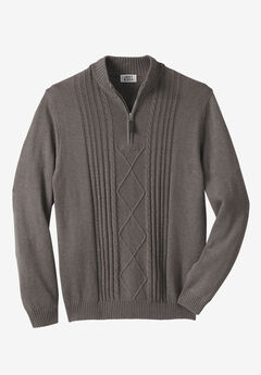 Shoreman's 1/4 Zip Cable Knit Sweater by Liberty Blues®, HEATHER SLATE