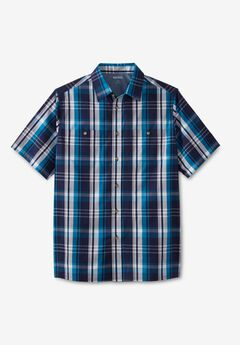 Short-Sleeve Plaid Sport Shirt, CLASSIC TEAL PLAID