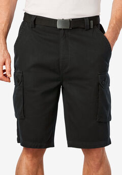 "12"" Side Elastic Cargo Short with Twill Belt,"