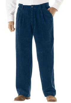 Expandable Waist Corduroy Pleat-Front Pants, NAVY