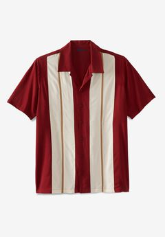 Short-Sleeve Colorblock Rayon Shirt, RICH BURGUNDY COLORBLOCK