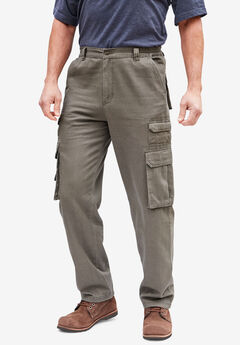 Boulder Creek® Side-Elastic Stacked Cargo Pocket Pants, ASH BROWN
