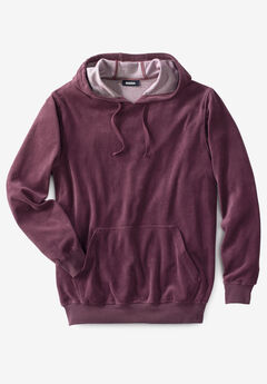 Velour Long-Sleeve Pullover Hoodie, DEEP BURGUNDY
