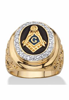 Yellow Gold Plated Cubic Zirconia Masonic Nugget Ring,