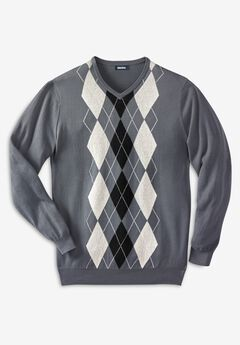 V-Neck Argyle Sweater,