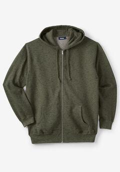 Fleece Zip-Front Hoodie, OLIVE MARL