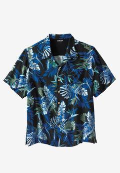 Island Print Rayon Shirt by KS Island™, BLUE ISLAND