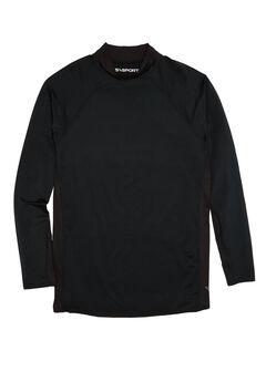 Mock Neck Base Layer Shirt by KS Sport™, BLACK