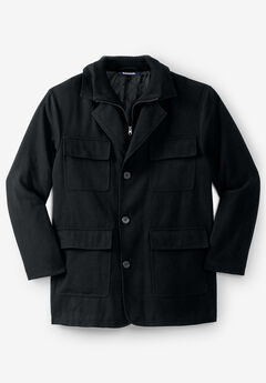 Multi-pocket Inset Jacket, BLACK