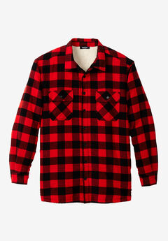 Flannel Sherpa Lined Shirt, RED BUFFALO CHECK