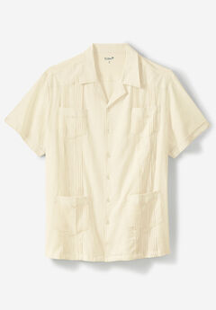 KS Island™ Short-Sleeve Linen Guayabera Shirt, CREAM