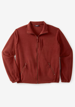Full-Zip Fleece Jacket, RUST