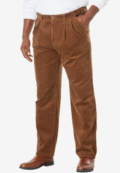 Six-Wale Corduroy Pleat-Front Pants, DARK WHEAT