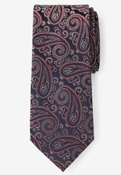 KS Signature Extra Long Classic Paisley Tie, RICH BURGUNDY PAISLEY