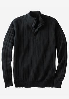 ¼ -Zip Mock Neck Lightweight Sweater,