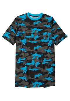 Lightweight Longer-Length Crewneck Pocket T-Shirt, ELECTRIC TURQUOISE CAMO