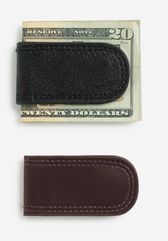 Leather Money Clip, BROWN