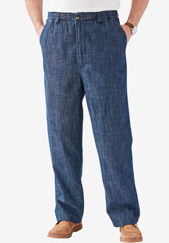 Knockarounds® Full-Elastic Waist Pants in Twill or Denim, INDIGO