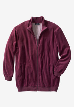 Velour Full-Zip Jacket, DEEP BURGUNDY