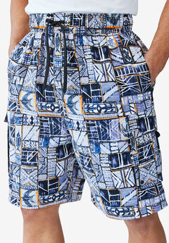 KS Island™ Printed Cargo Swim Shorts, ORANGE BATIK