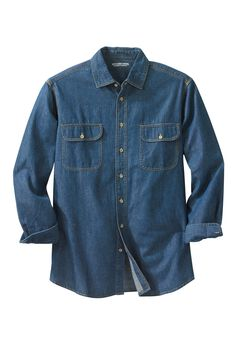 Boulder Creek® Long-Sleeve Button Down Shirt , STONEWASH DENIM