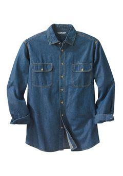 Boulder Creek® Long-Sleeve Button Down Shirt , STONEWASH DENIM