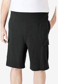 Lightweight Jersey Cargo Shorts, BLACK
