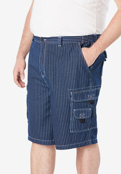 "Boulder Creek® 12"" Denim Cargo Shorts, RAILROAD STRIPE"