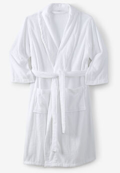 Terry Bathrobe with Pockets, WHITE