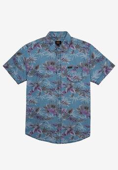 Short-Sleeve Button-Down Woven Shirt by Lee®, DUSK BLUE
