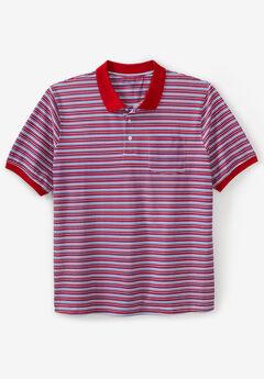 Liberty Blues® Pocket Piqué Polo Shirt, RED MULTI STRIPE