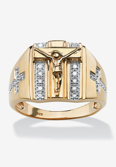 18K Gold over Sterling Silver Genuine Diamond Crucifix Ring,