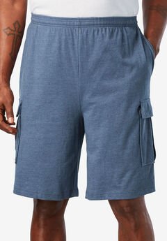 Lightweight Jersey Cargo Shorts, HEATHER SLATE BLUE