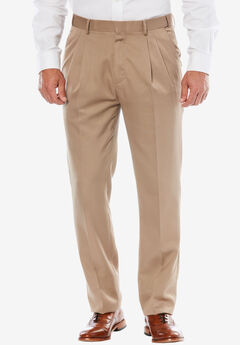 KS Signature No Hassle® Classic Fit Expandable Waist Double-Pleat Dress Pants, TAUPE