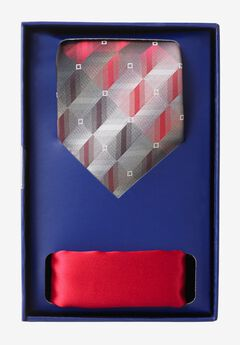 KS Signature Extra Long Tie and Pocket Square Gift Set, RED GEO TIE