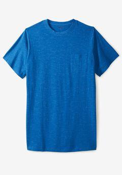 Lightweight Longer-Length Crewneck Pocket T-Shirt, ROYAL BLUE HEATHER
