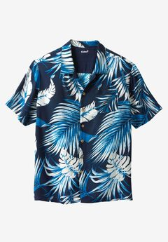 KS Island™ Tropical Caribbean Camp Shirt, NAVY PALM