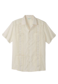 KS Island™ Short-Sleeve Guayabera Shirt, CREAM