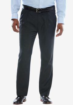 KS Signature No Hassle® Classic Fit Expandable Waist Double-Pleat Dress Pants, HEATHER CHARCOAL