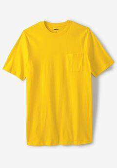 Lightweight Longer-Length Crewneck Pocket T-Shirt, CYBER YELLOW