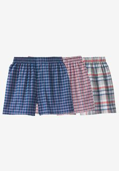 Woven Boxers 3-Pack, ASSORTED GREY PATTERN