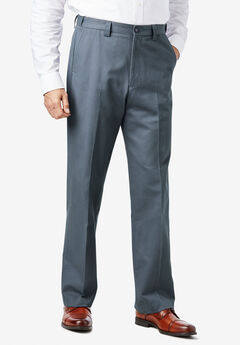Relaxed Fit Wrinkle-Free Expandable Waist Plain Front Pants, CARBON