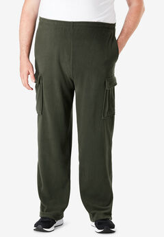 Explorer Plush Fleece Cargo Sweatpants, FOREST GREEN