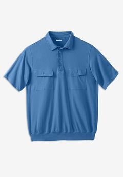 Jersey Double Pocket Banded Bottom Polo,
