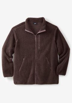 Zip-Front Sherpa Jacket, DARK BROWN