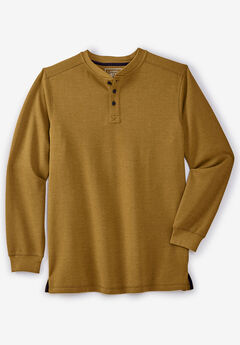 Easy-Care Ribbed Knit Henley Tee by Liberty Blues®, HEATHER BRASS