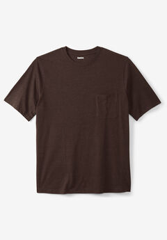 Shrink-Less™ Lightweight Pocket Crewneck T-Shirt, HEATHER BROWN